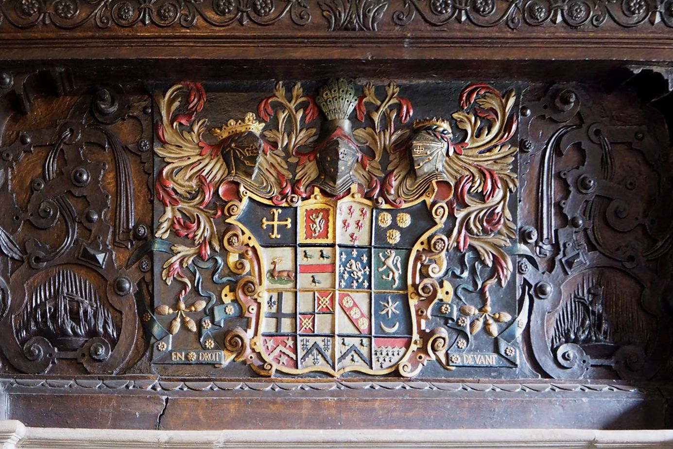 Coat of arms the legh family in ticket office at