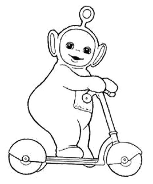 Poo Playing Scooter Coloring Page Malvorlagen Kinder Malbuch