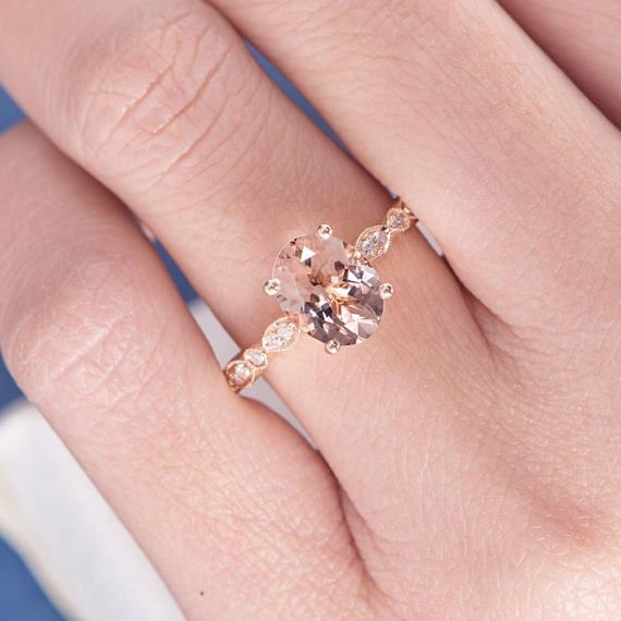 Morganit Verlobungsring Rotgold Diamant Art Deco Ring Oval