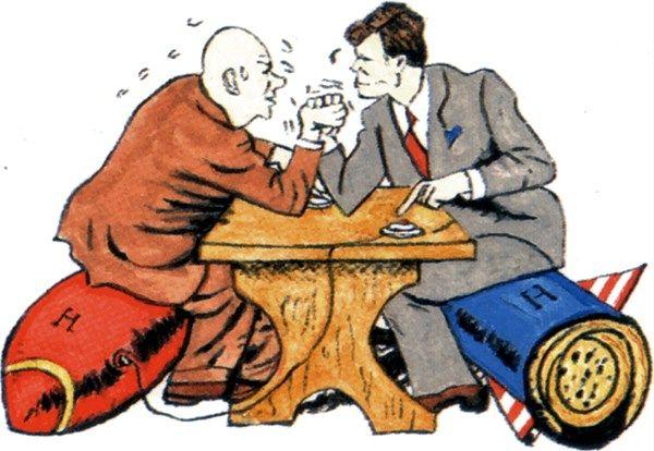 Risultato immagini per vignette satiriche la guerra fredda