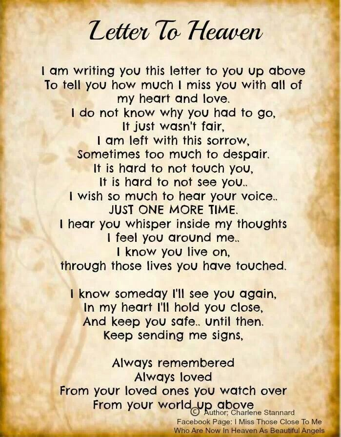 Letter To Heaven I Miss U All So Much For All I Have Lost Along