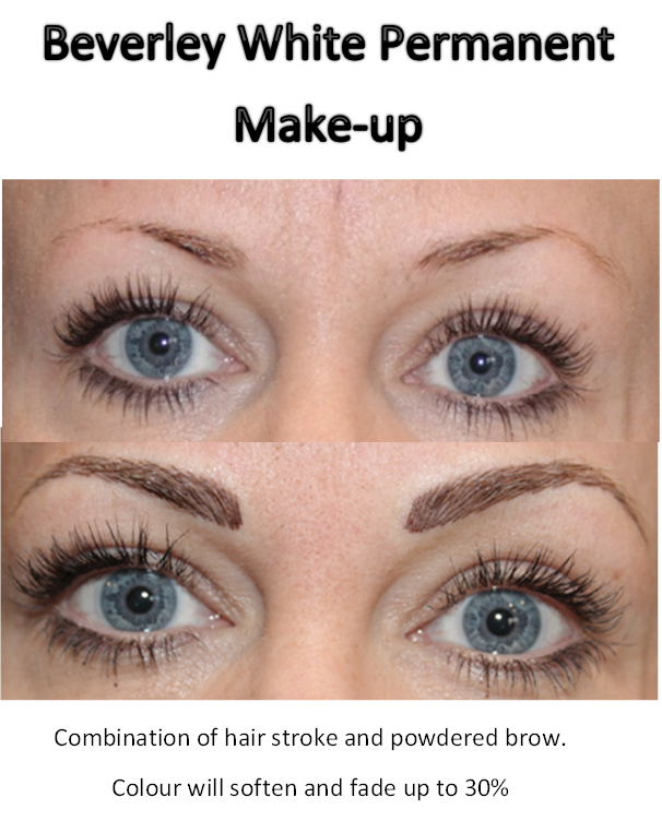 Beverley white permanent make up combination of hair for Powder eyebrow tattoo