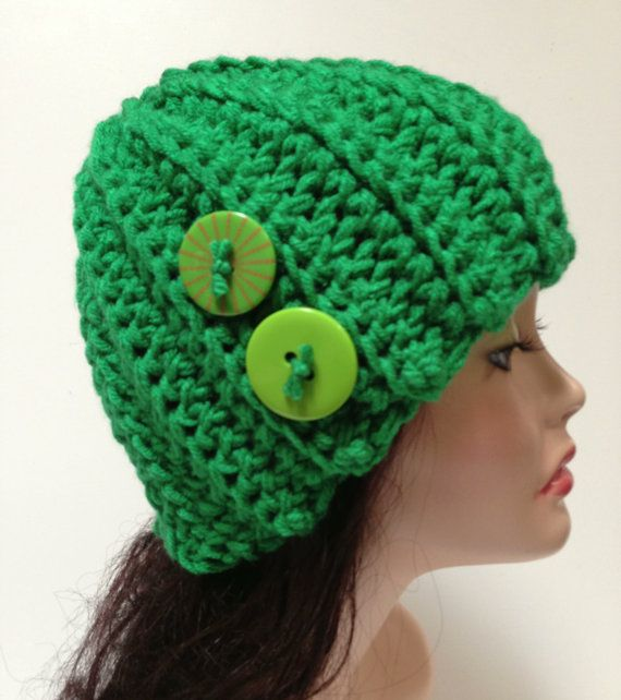 Ribbed Crochet Hat. Green Crochet Hat. Christmas ♥ by Africancrab
