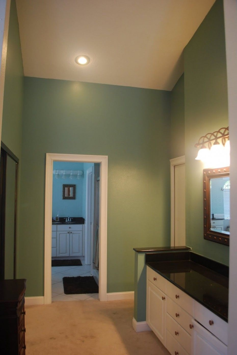 Bathroom paint colors ideas warm green bathroom painting for Green bathroom paint colors