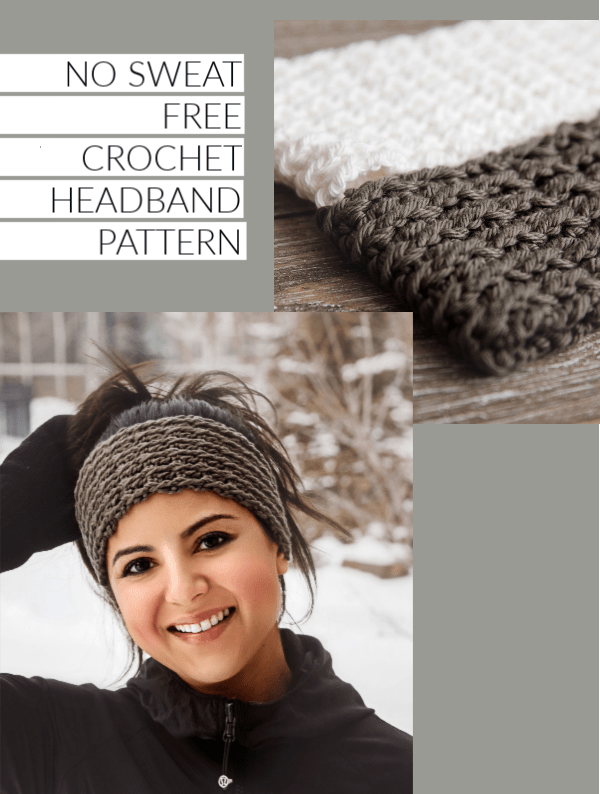 No Sweat Free Crochet Headband Pattern #crochetheadbandpattern