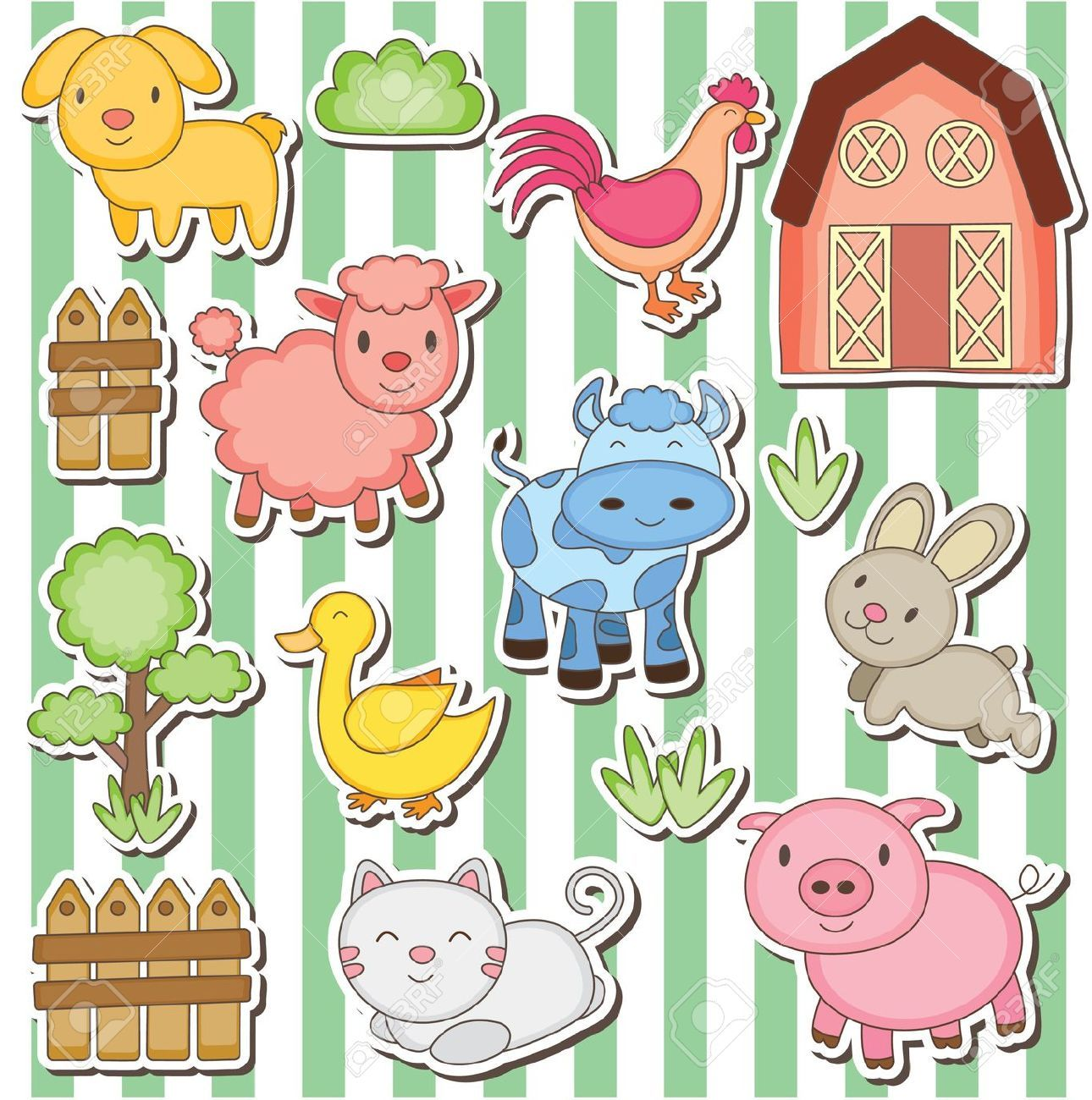 Happy Farm Animals Clip Art Happy Farm Animal Clipart Farm Animals