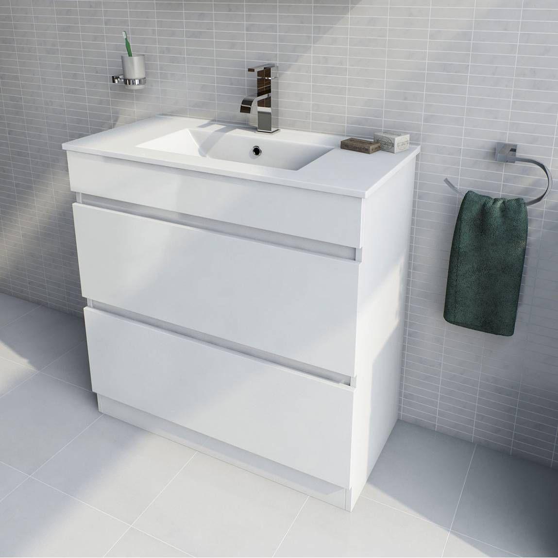 Plan White Floor Mounted 800 Drawer Unit Basin Plus Waste