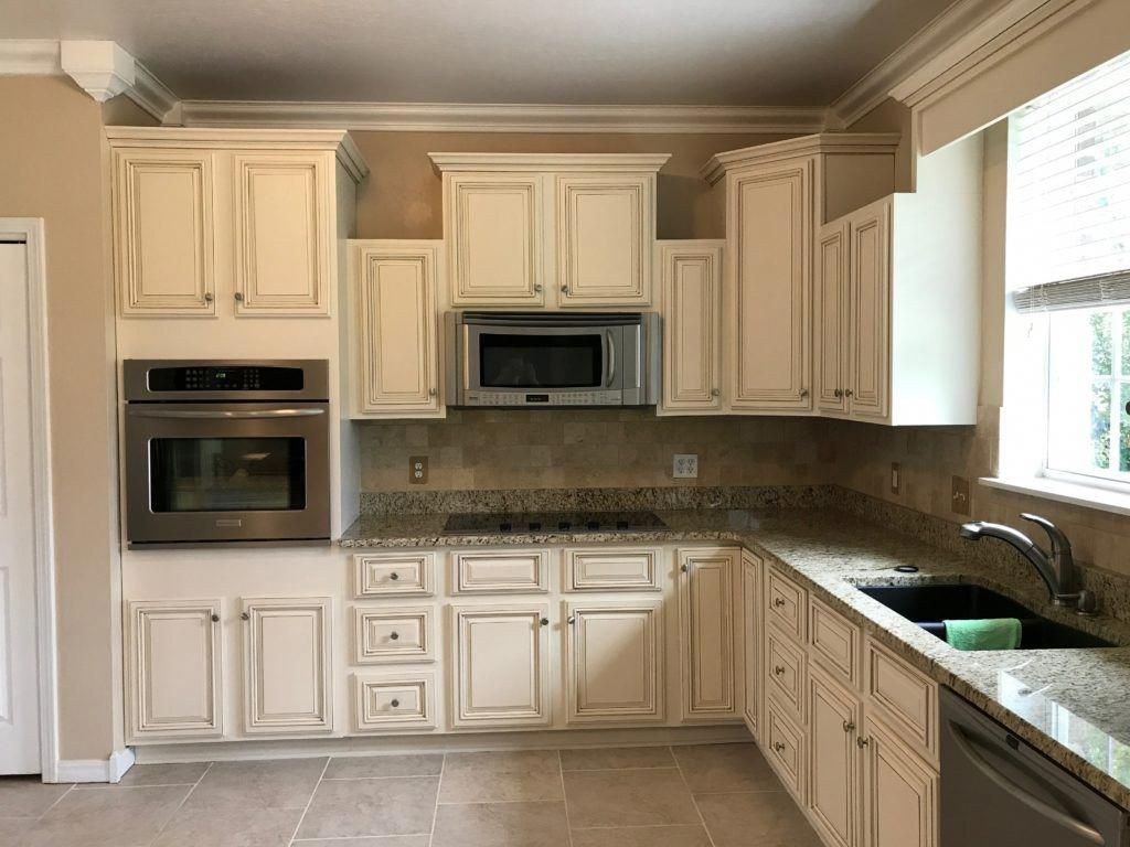 Check Out How I Took This Dark And Dated Space Into A Much Lighter And Brighter Kitch Kitchen Cabinet Remodel Kitchen Cabinets Makeover Glazed Kitchen Cabinets