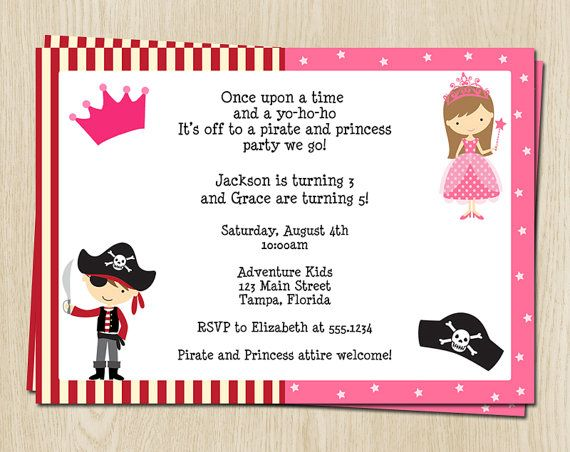 pirate and princess party invitations set of 10 large printed birthday invites with envelopes