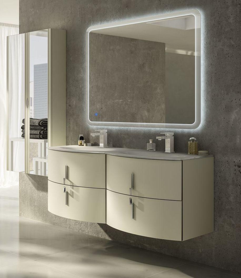 Mobile Bagno Stiven 138 cm in 4 colori con doppio lavabo ...