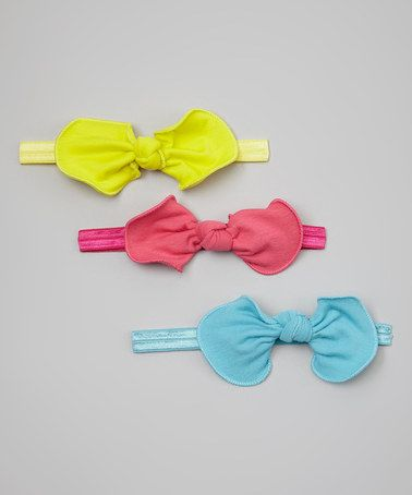 Look what I found on #zulily! Hot Pink, Yellow & Turquoise Bow Headband Set by Olivia Rae #zulilyfinds