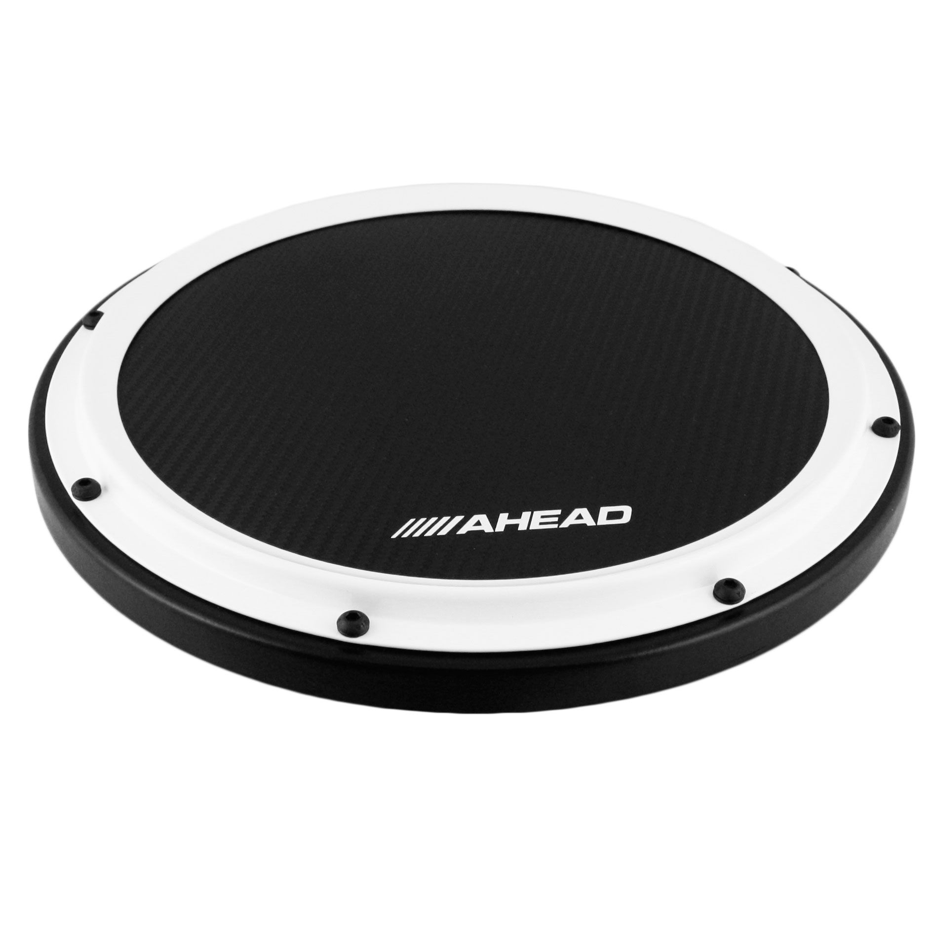 """Ahead S-Hoop Carbon Fiber Marching Practice Pad w// Snare Sound 14/"""" Black"""