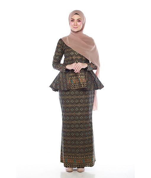 Sofea Modern Perplum Black Batik Tenun  Baju Raya 2017