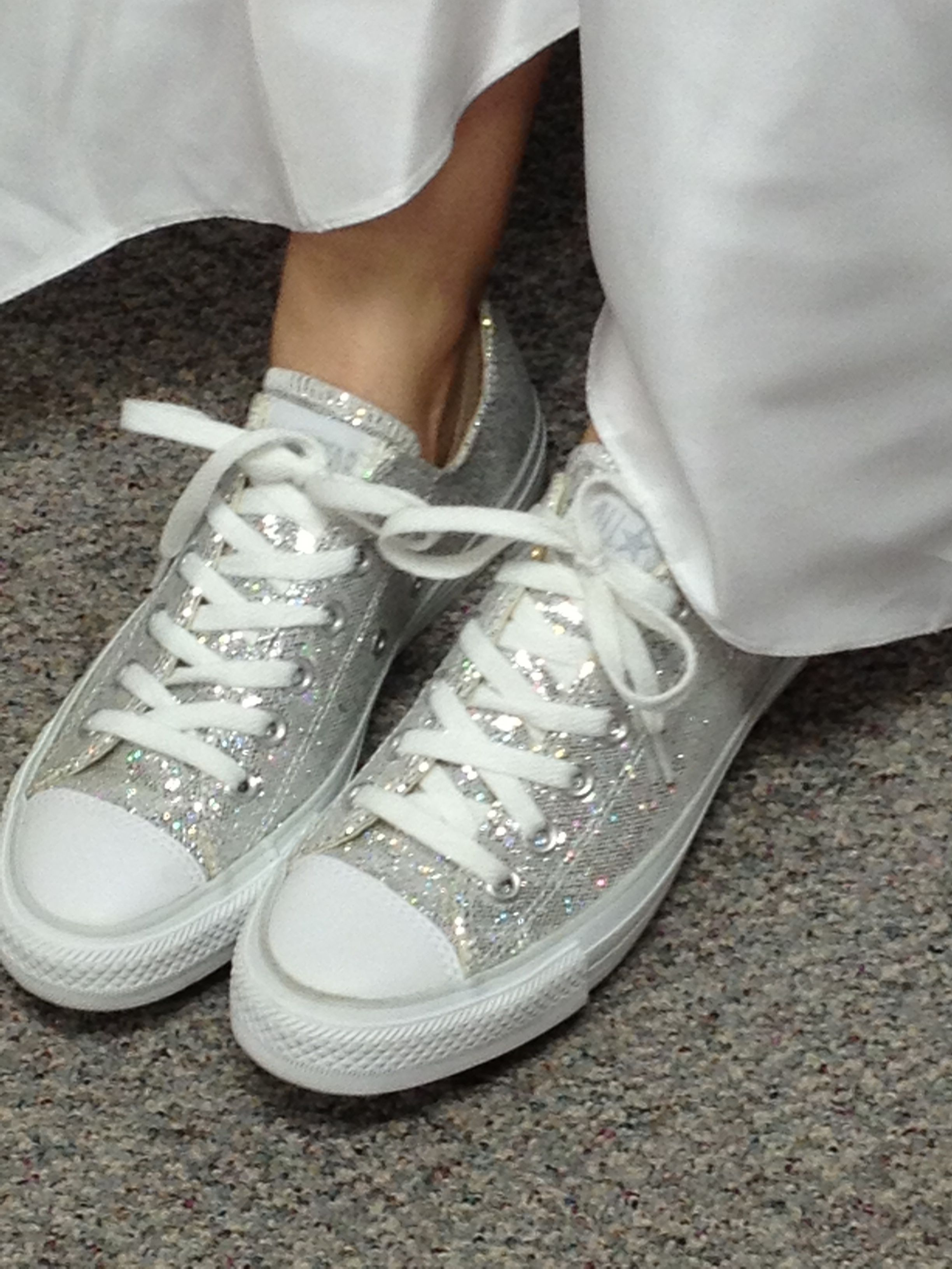 58e01d1c2dee0d Sparkly converse with wedding dress! I know youve got your gray and pink  ones but check these babies out!!