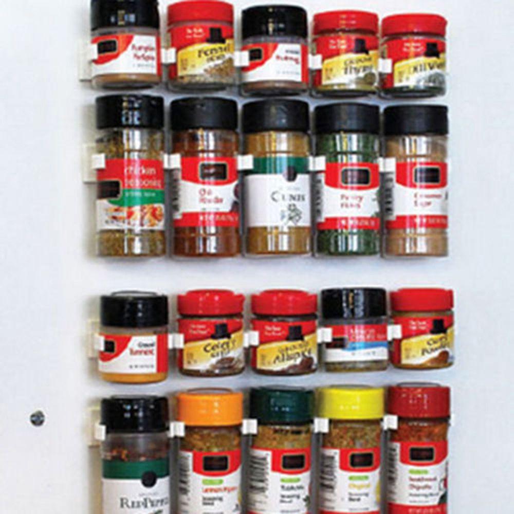 4pcs Spice Wall Rack Storage Plastic Kitchen Organizer 5 Hooks 1pcs Gripper Wb Unbranded Spice Storage Space Savers Kitchen Jars