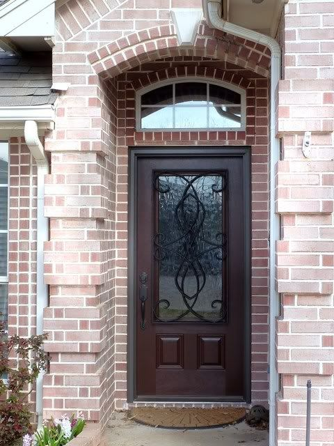 Pella Fiberglass Door With Iron Design Fiberglass Entry Doors