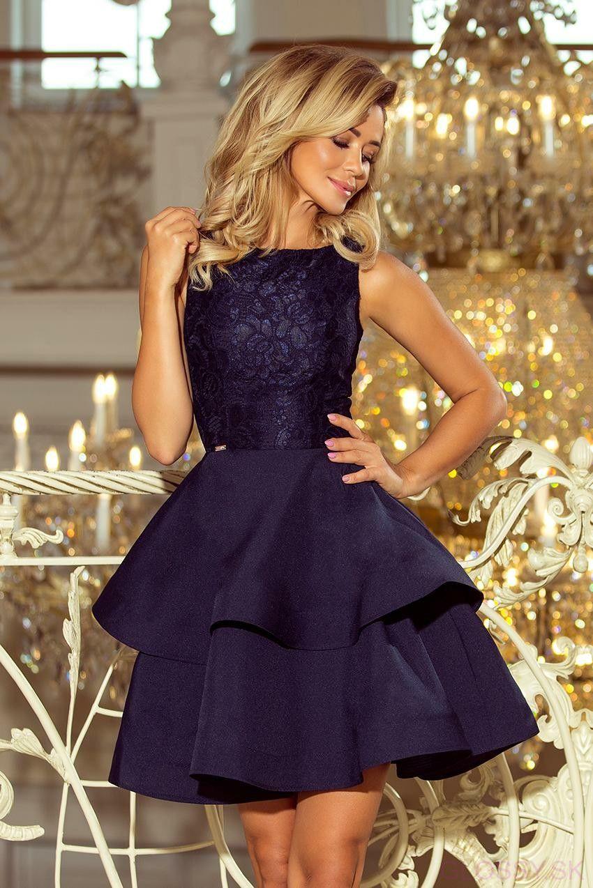 5d0badf06665 Krátke spoločenské šaty s bohatou nariasenou sukňou. Vrch šiat tvorí  nádherná krajka