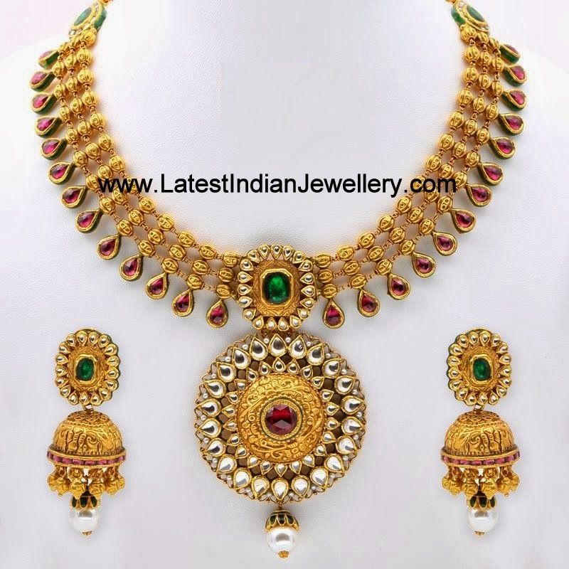 Elegant Antique Gold Kundan Necklace Set Antique gold Gold and