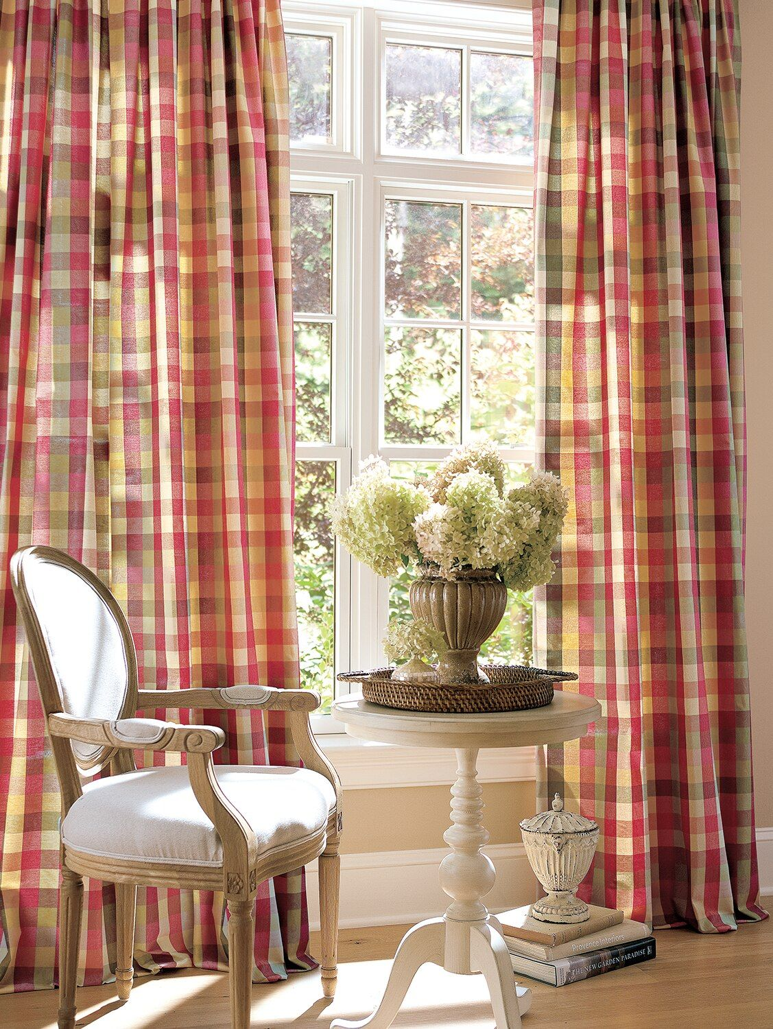Moire Plaid Rod Pocket Curtains French Country Living Room
