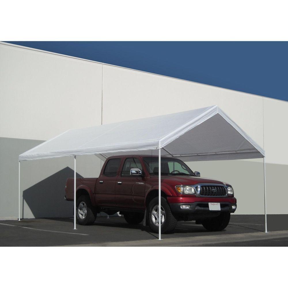 White Portable 10x20 Carport Canopy Garage Tent Shelter Cover Kit ...