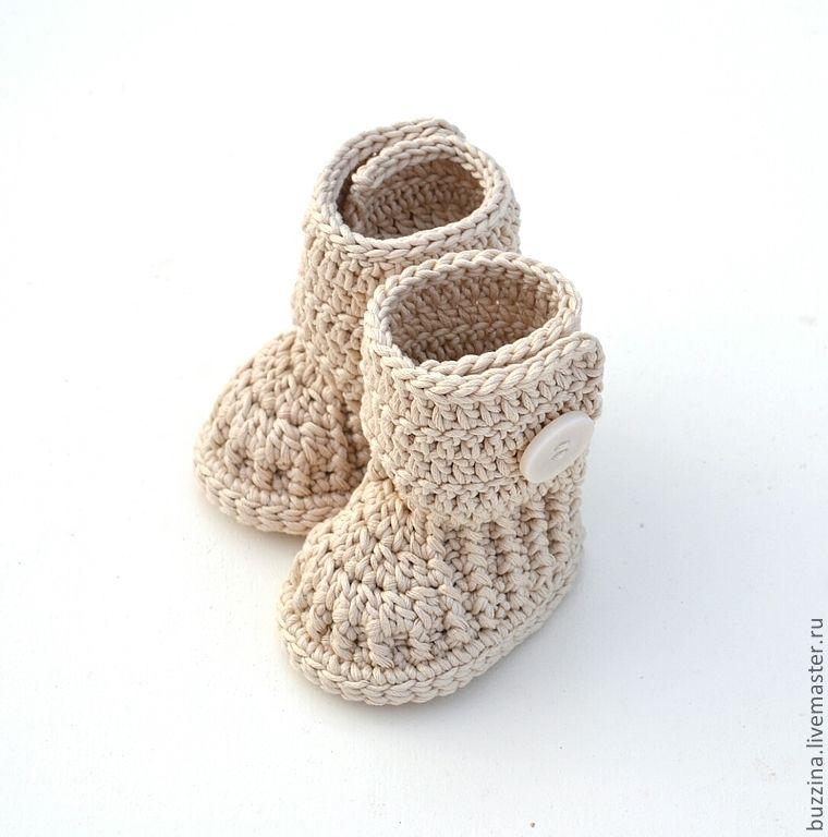 Купить Пинетки угги для новорожденного из хлопка, бежевые - угги ...