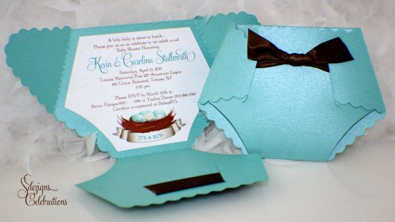 Diaper Baby Shower Invitation Or Baby Announcement  Bird Nest