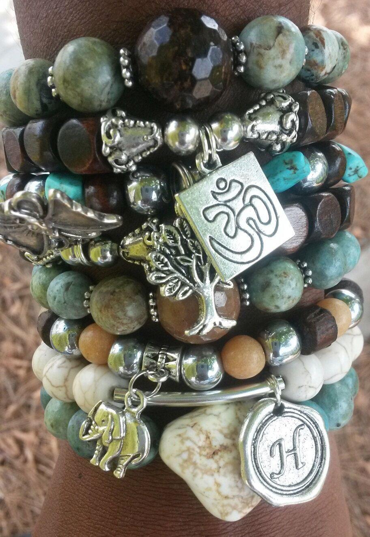 FREE U.S. SHIPPING-Yoga Stack Bracelets, Energy Bracelet, Healing Bracelet, Nature Bracelet, Chyrsocolla Bracelet, Balance Bracelet,Bohemian by IvyLeagueUniques on Etsy https://www.etsy.com/listing/194969273/free-us-shipping-yoga-stack-bracelets