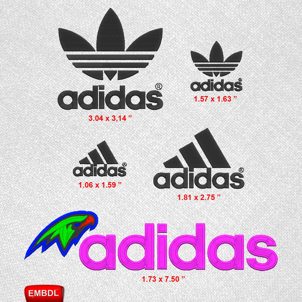 baab1108f9b8bd Adidas Logo Pack- Embroidery Design Instant Download #EmbroideryDownloadCom