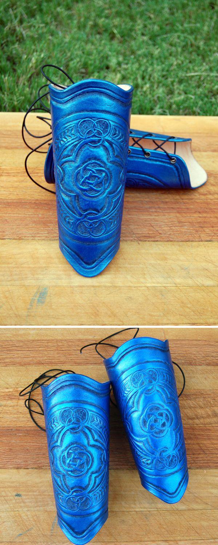Blue Celtic Emblem Bracers by OrangeMoose.deviantart.com on @deviantART