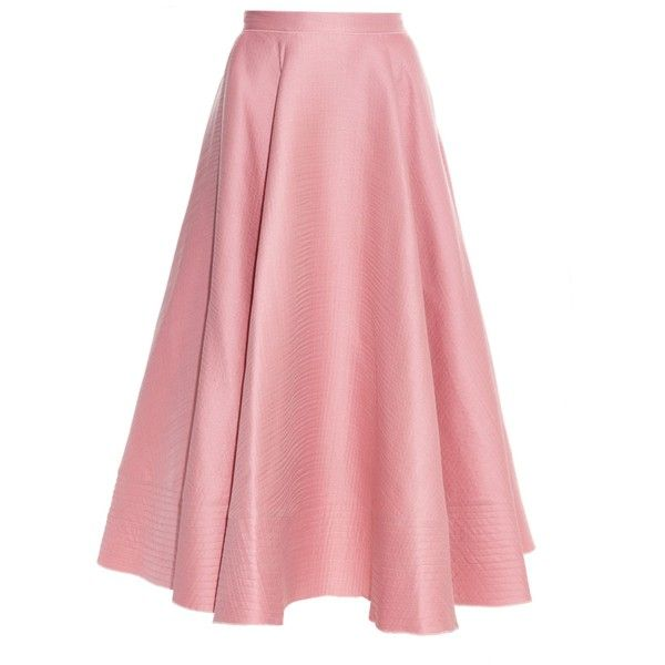 Roksanda Textured wool and silk-blend midi skirt ($2,510) ❤ liked on Polyvore featuring skirts, pink, pink skirt, flared skirt, roksanda, flare skirt and red midi skirt