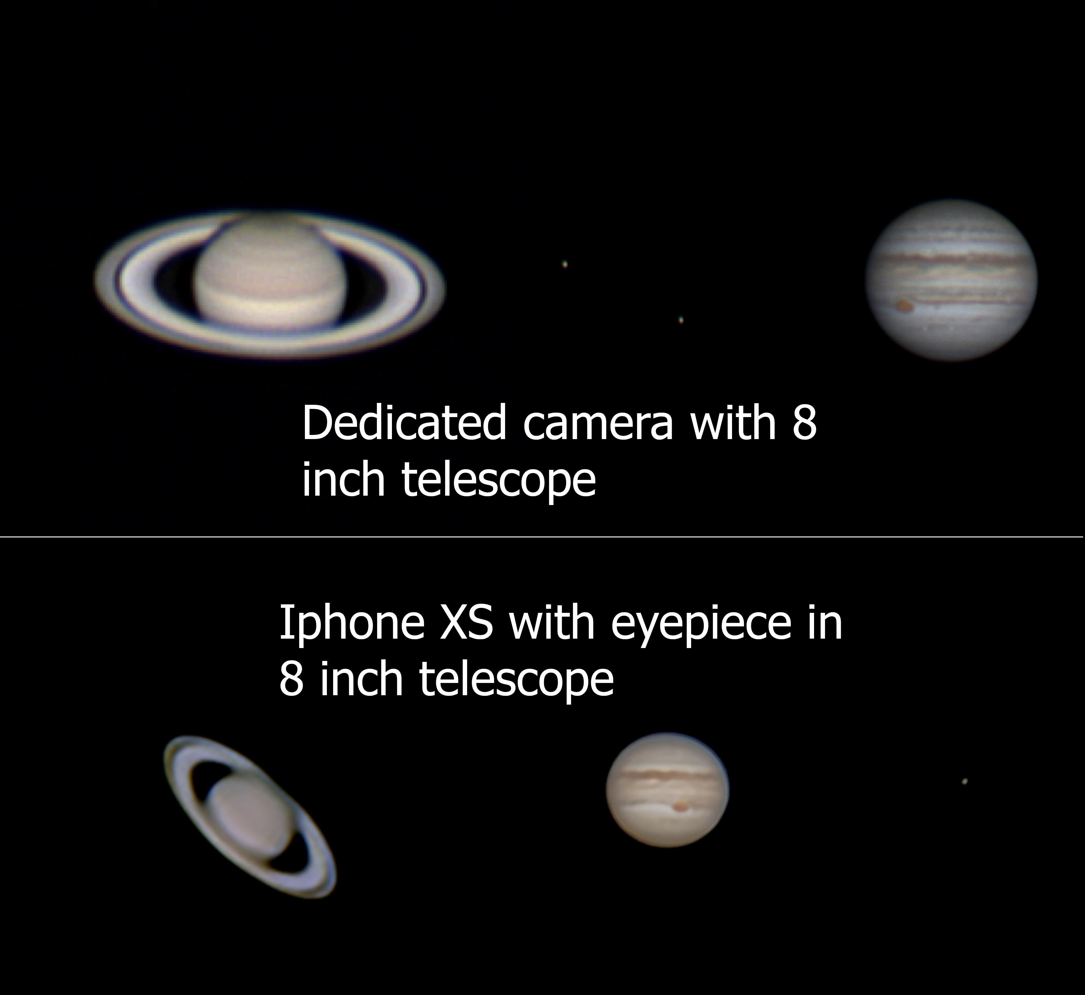 Jupiter And Saturn Shot On Iphone Vs Planetary Camera Saturn Planetary Planetary Science