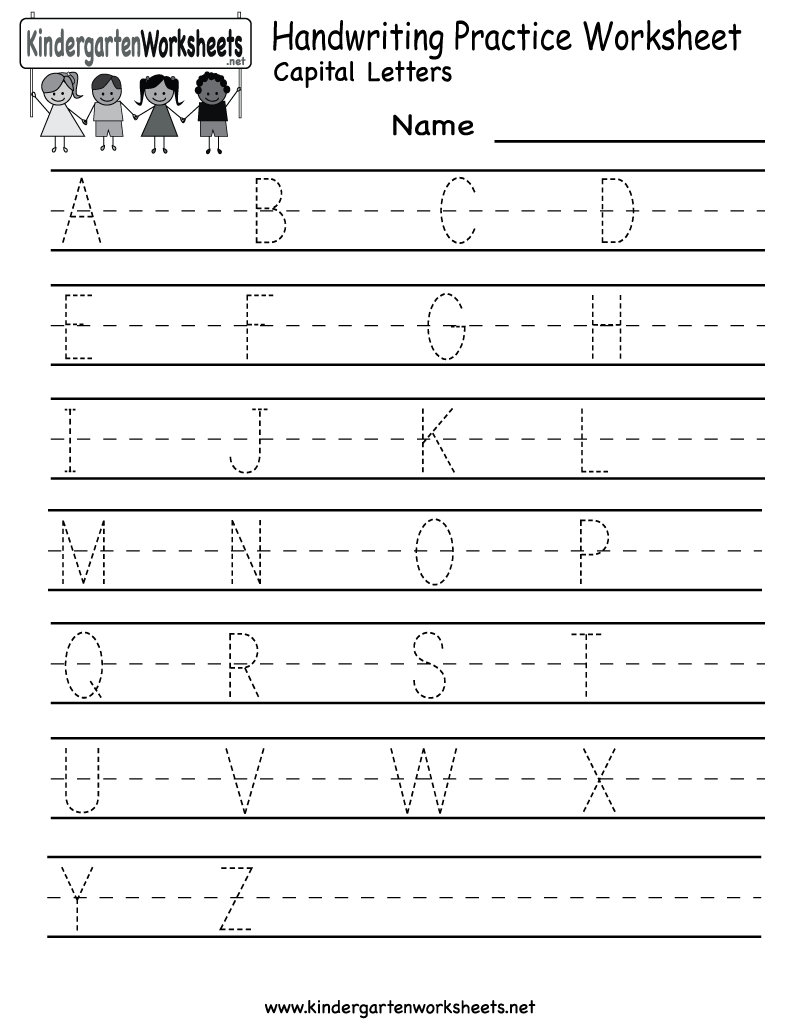 Kindergarten handwriting practice worksheet printable for Children s books about writing letters
