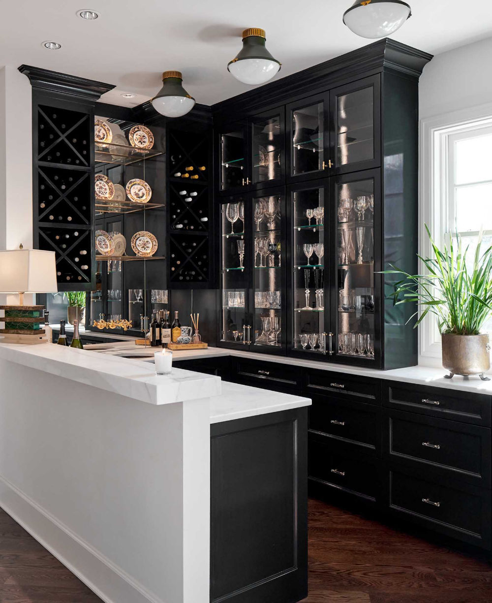 Black Lacquered Laundry Room Cabinetry Google Search In 2020 Home Bar Designs Black Cabinets Pantry Design