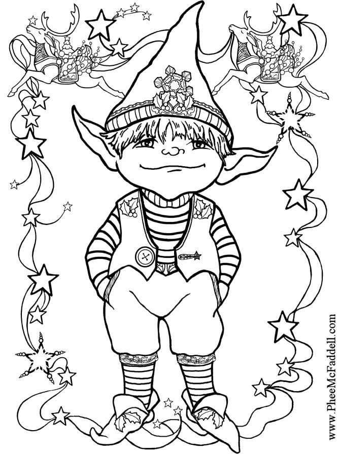 Little Elf 1 Black and White wwwpheemcfaddellcom  color me