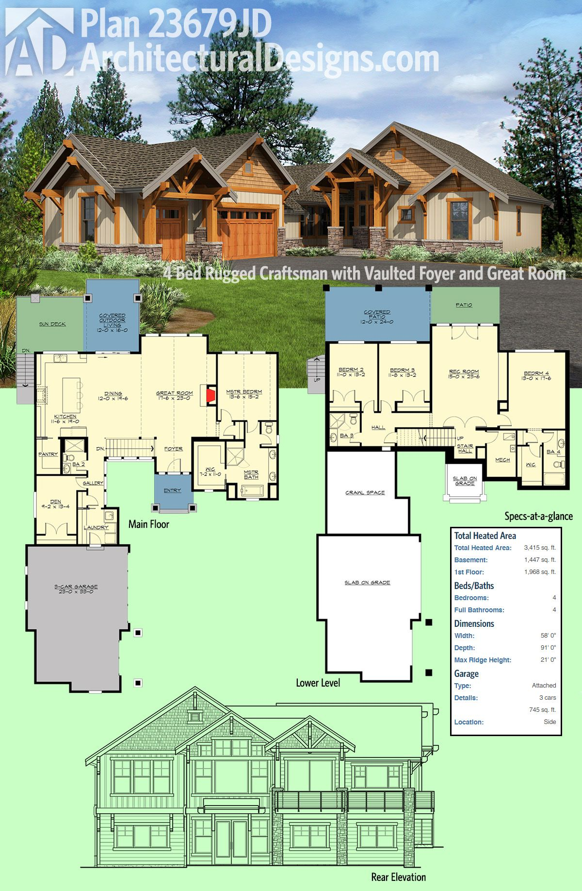 plan 23679jd  4 bed rugged craftsman with vaulted foyer