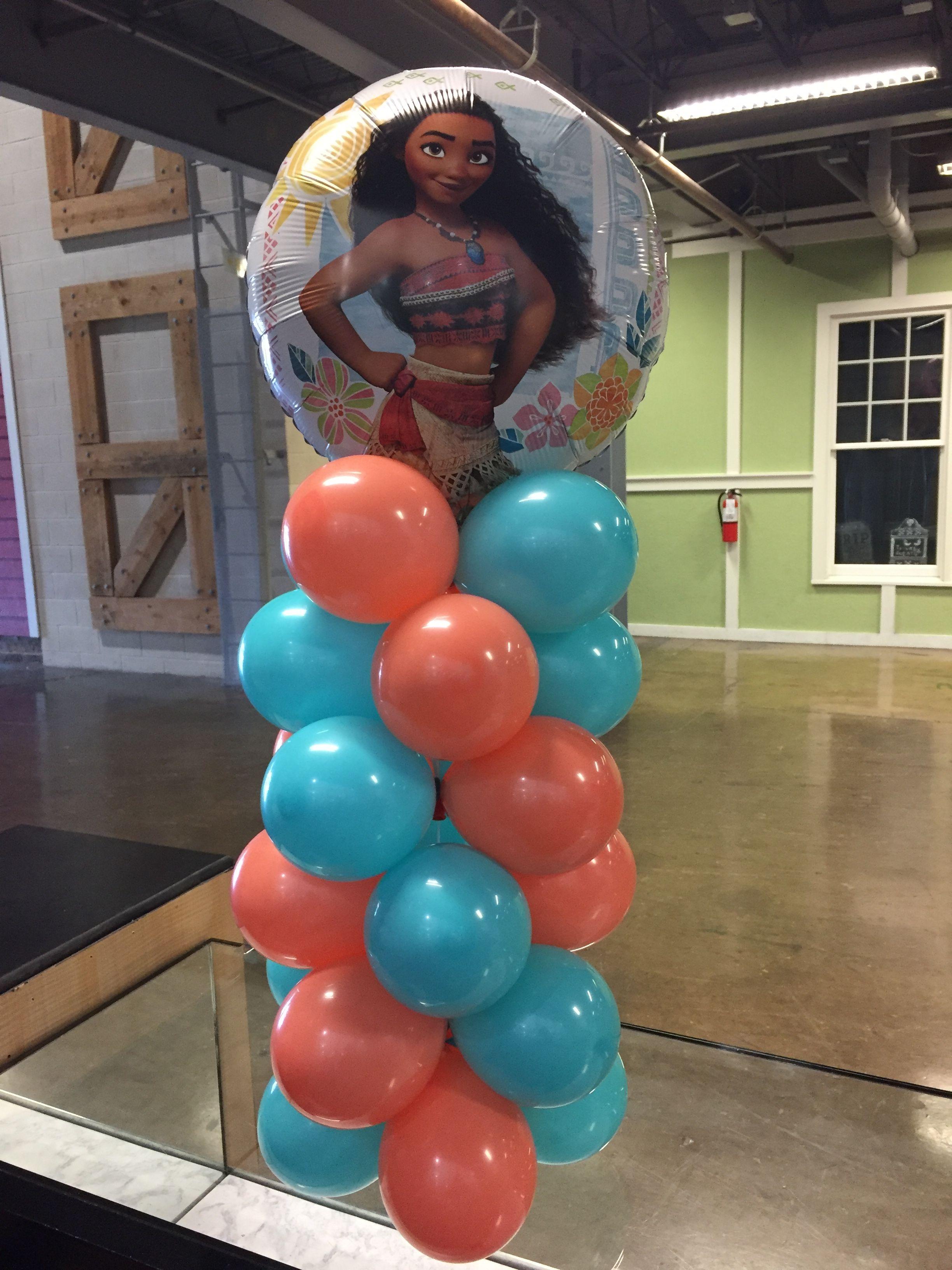 Moana table top balloon column jujabel balloons Raleigh