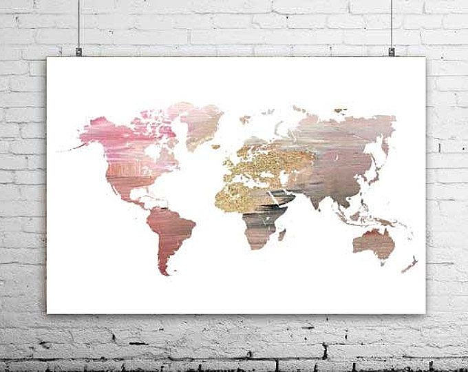 Modern map of the world, world map, map wall poster, large ...