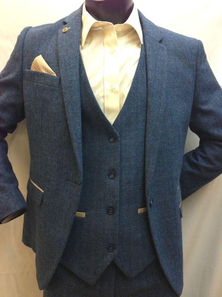 wholesale dealer 92bf5 4daf1 Herren Marc Darcy Dion Blauer Tweed-Fischgrätenmuster ...