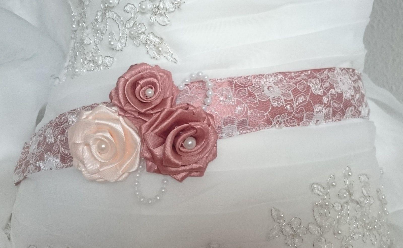 Tailenband mit Spitze Brautschärpe Brautgürtel