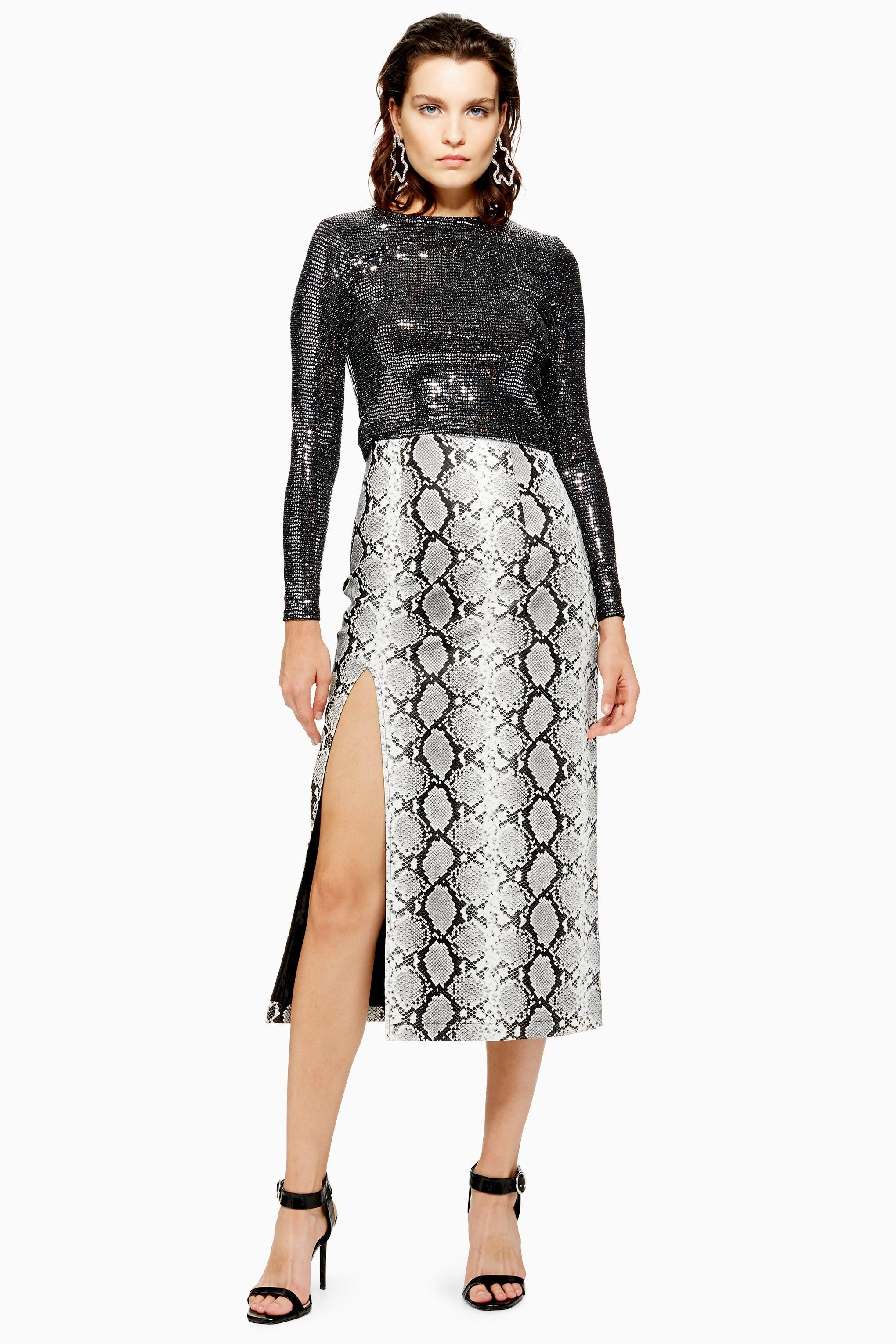 de077b4c253663 Snake Print Leather Look Pencil Skirt | Pencil Skirts | Printed ...