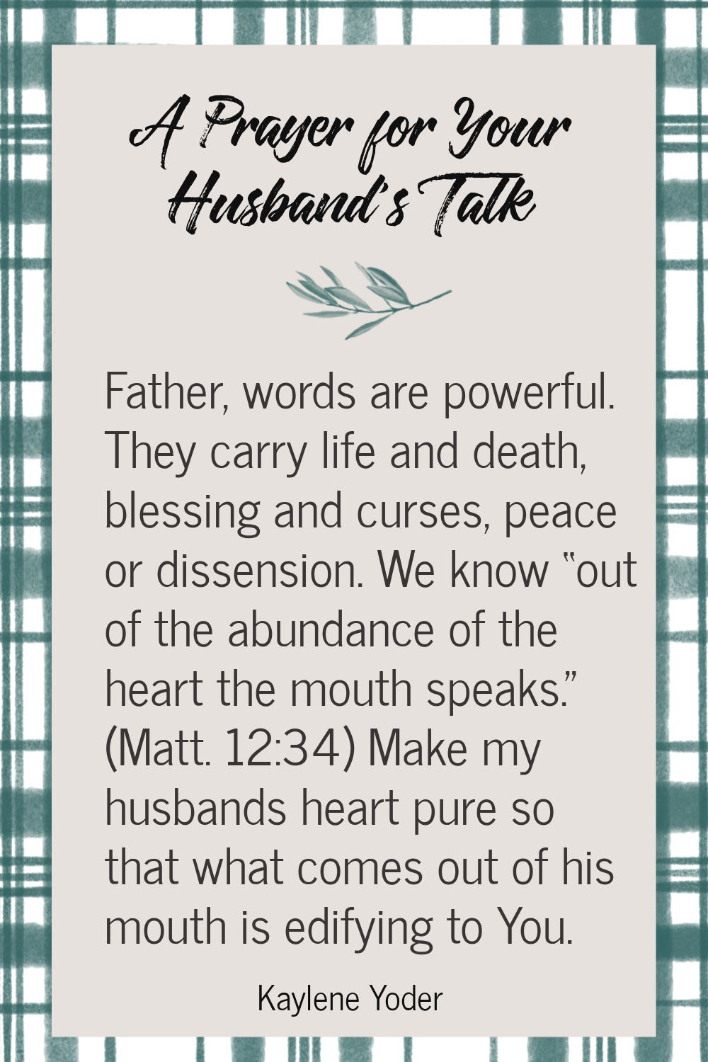 A Prayer for Your Husband's Talk