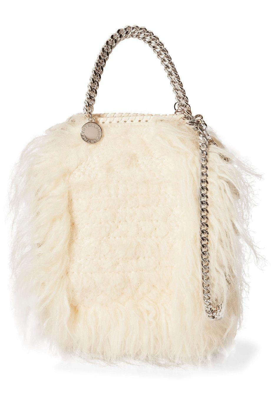 bbe7419d4f75 STELLA MCCARTNEY Tiny Falabella chain-trimmed faux fur shoulder bag.   stellamccartney  bags  shoulder bags  fur