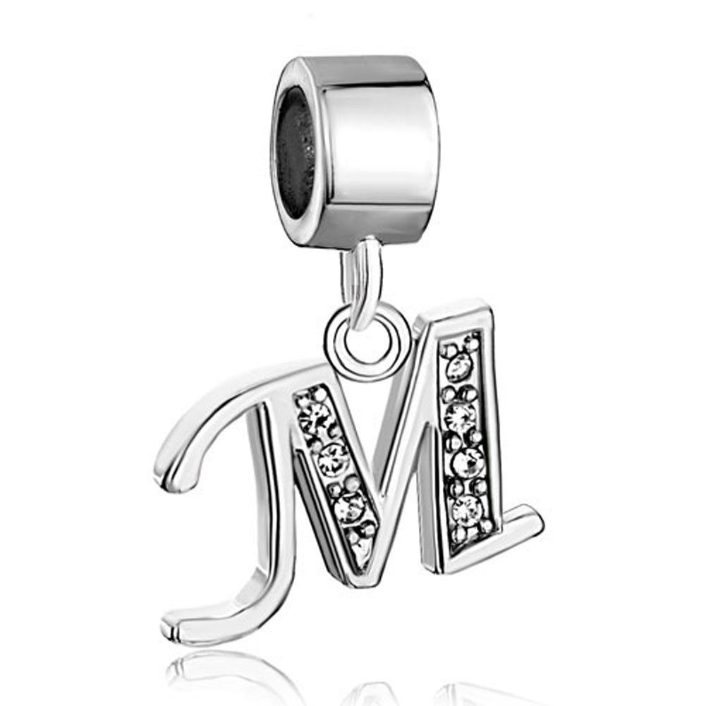 f2a0559b4eb8 Sale Cheap New Jewelry Clear Birthstone Crystal Letter M Spacer Charms  Beads Fit Pandora Bracelet