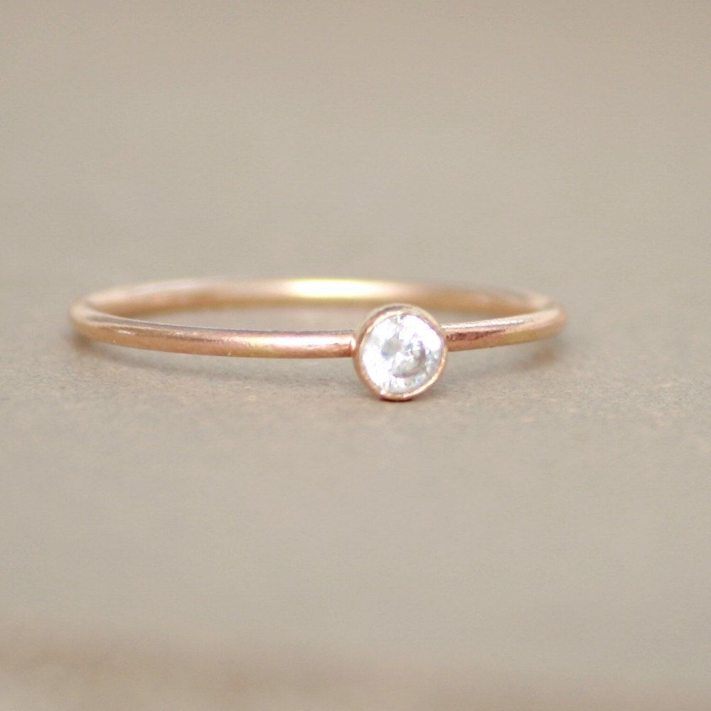 gold ring CZ diamond birthstone ring ONE by MeadowbelleMarket, $29.00
