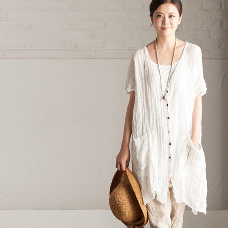 Women Plus Size Long Sleeve Casual Button Mini Dress with Pockets DongDong ✫Loose Cotton Linen Blouse Dress