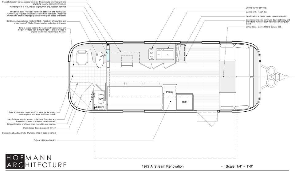 1972 Tradewind 24 Guesthouse Airstream Airstream Interior Floor Plans
