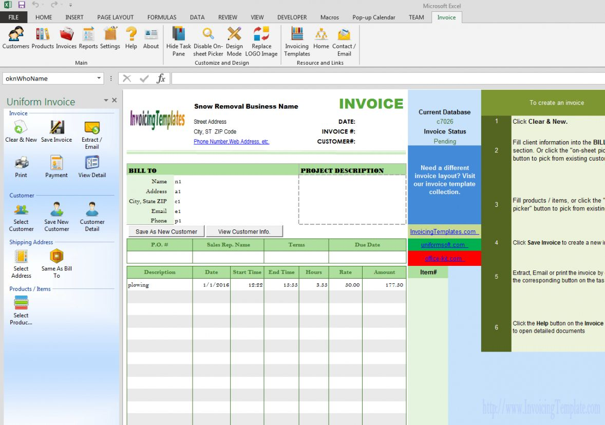 Explore Our Example Of Snow Plowing Invoice Template Invoice Template Invoice Template Word Professional Templates