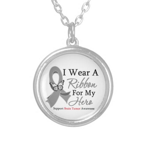 Brain Tumor I Wear a Ribbon For My Hero Round Pendant Necklace