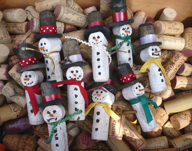 Wine cork snow men christmas tree ornament christmas for Cork balls for crafts