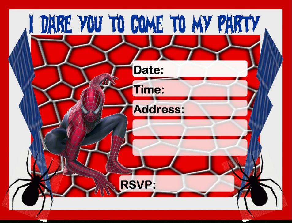 Create Spiderman Invitations Free Download New HD Buy Now